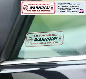 2 x Warnung: OBD Anschluss deaktiviert & GPS Fahrzeug Tracker Fenster Sticker Ford ST RS
