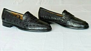 RARE! $1,400 COLE HAAN Black Genuine Crocodile Alligator Loafers Boots Shoe 10.5