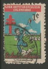 STAMPS-COLOMBIA. 1944. Christmas - 1c Anti T.B. Charity Poster Stamp. Cancelled.