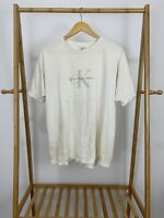 VTG 90s Calvin Klein Classic Logo White Short Sleeve Single Stitch T-Shirt L/XL