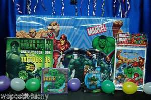 Hulk Party Set # 10 Napkins Topper Tablecloth Plates Tattoos Loot bags