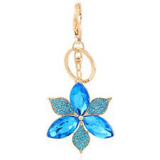 Handbag Buckle Charms Accessories Ocean Blue Flower Keyrings Key Chains HK105