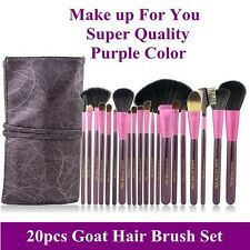 New Pro 20pcs super quality goat hair purple makeup brushes set kit with pouch