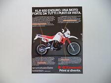 advertising Pubblicità 1987 MOTO KAWASAKI KLR 650 ENDURO