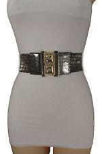 Women Grey Elastic Beads Waistband Fashion Belt Hip High Waist Timeless S M L