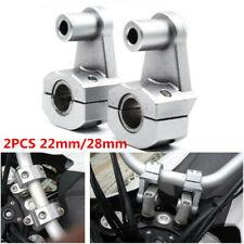 1Set 22mm/28mm Motorcycle Handlebar Extended Bracket Riser Aluminum Silver+Screw