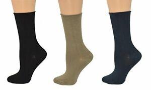 Sierra Socks Health Diabetic Arthritic Bamboo Roll Top Crew Women's 3 Pair Pack