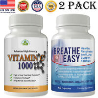 2 Pack Vitamin C 1000mg Caps Breathe Easy Respiratory System Lungs Support Pills