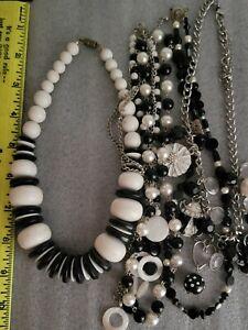 5pcs Black White Necklaces Lot Various Styles Fashion Costume Jewelry Beetle Bug