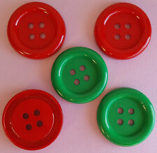 Big Ol 'Botones Navidad Rojo Verde Vestido De Payaso De Coser Redondo Botones de artesanía para arriba