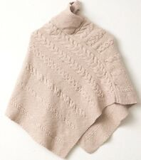 Inis Crafts Irish Cable Knit Poncho S M 100% Merino Wool Cape Shawl Beige Pink