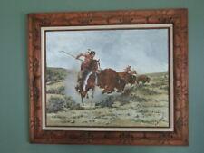 Native Americans Hunting Buffalo Framed Acrylic Painting E. Bianchi 36x30