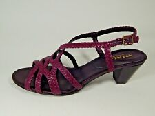 "$175 New Amalfi Purple Woven Leather Sandals Slingback ""ESSA"" Magenta Heels"