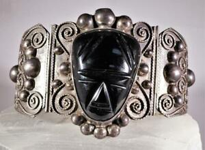 Vintage Black Onyx Carved Face Chunky Silver Bracelet TAXCO Mexican Signed CMB