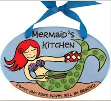 Our Name is Mud Mermaid Kitchen Ceramic Wall Plaque Nib Beach Decor 4017351