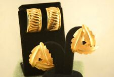 Duplaise Large Gold Tone Clip- Snap-Back Earrings