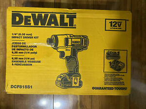 """New Dewalt 12V Lithium Ion 1/4"""" Impact Driver Kit W/ Battery & Charger DCF815S1"""