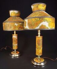 2 1970's FLOWER Table Lamps lights VINTAGE daisy SHADES mid century AWESOME