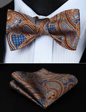 Orange Blue Paisley Bowtie Men Silk Self Bow Tie Handkerchief Set#BP826NS