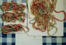Big Lot Vintage Xmas Multi color Glass Bead garland some ribbed texture,double
