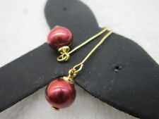 new 9-10MM AAA+ south sea red  pearl earring 14K SOLID GOLD MARKED