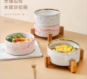 Creative Wooden Frame Salad Bowl Ceramic Bowl keeping pets Bowl Tableware Bowl