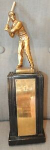 "1938 Wood & Brass 17"" BASEBALL TROPHY International Silver Co Batter Retro Decco"