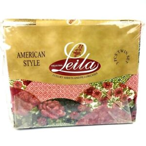 Leila Collection Vtg American Style 3pc Piece Red Floral Flowers Twin Sheet Set