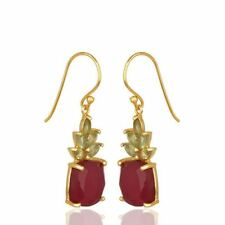 Yellow Gold Plated 925 Silver Ruby Peridot Dangle Gemstone Earrings Jewelry