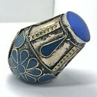 Huge Vintage Islamic Ring Ottoman Empire Style Middle East Blue Inlay Or Stone