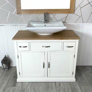 Bathroom Furniture | White |1000mm Vanity Cabinet Storage Sideboard and Ceramic