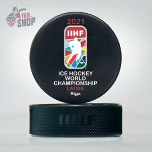 2021 Riga Latvia Game puck Ice Hockey World Championship IIHF