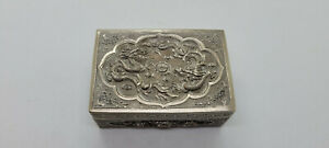 ANTIQUE BEAUTIFUL CHINESE EXPORT SOLID SILVER BOX & LID,DRAGONS & FLOWERS SCENE