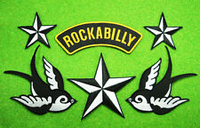 6 Lot SWALLOWS ROCKABILLY NAUTICAL STAR Embroidered Iron Sew On Jacket Hat Patch