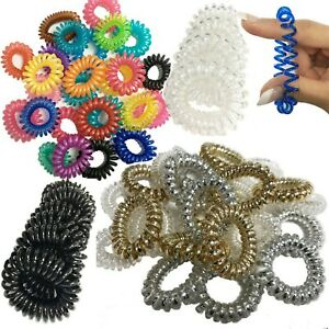 10 Hair Bobbles Spiral Coil Elastic Tie Bands Stretchy Wired Plastic Tangle Free