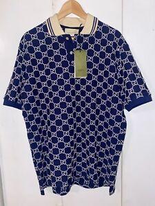 Authentic GUCCI GG Stretch Polo Blue Cotton Size M