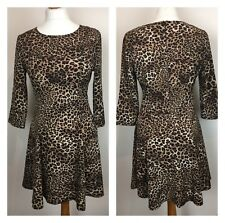 8c0cd66154 Leopard Print Skater dress Chiffon Party Funky Fit Flare Spring On Trend  Size 10