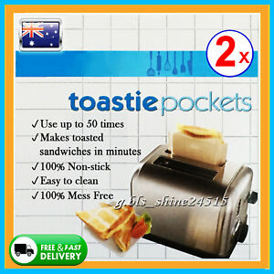 2x Toastie Pockets Bag Non-Stick Reusable Toaster Sandwich Baking Pouch Kitchen