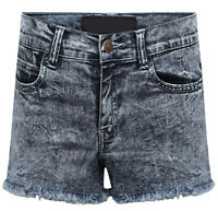 Womens Stretch Denim Shorts Ladies Summer Frayed Jeans Hot Pants Ripped Hotpants