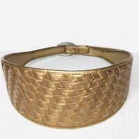 Vintage Dame Womens S Woven Genuine Leather Copper Wide Belt