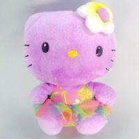 """2014 TY Beanie Babies HELLO KITTY 6"""" Small Stuffed Plush Hula Skirt Purple"""