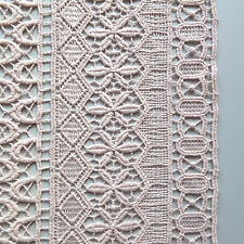 Blush pastel Pink Guipure Lace Fabric Stripe Geometric pattern - by the metre