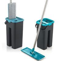 Flat Floor Squeeze Mop Wash Microfiber Mop Pads Bucket Magic Cleaner Auto Dry