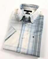 TOMMY HILFIGER Shirt Men's Short Sleeve Poplin Blue/Grey Check Classic Fit
