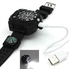 Compass Flashlight Torch LED Date Display Wrist Watch Outdoor Hiking Waterproof
