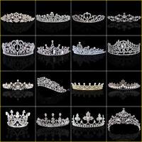 Fashion Wedding Bridal Tiaras Pearl Rhinestone Crystal Headbands Veil Hair Crown