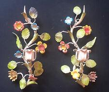 *RARE PAIR Vintage ITALIAN ITALY CANDELABRAS Lights Antique Sconces *FLOWERS