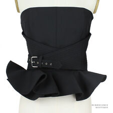 Bouchra Jarrar Luxurious Black Flared Hem Buckled Bustier Corset Top FR38 UK10