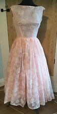 True vintage pretty pink organza dress white flowers 1950s wedding prom evening
