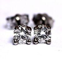 New 14k white gold .54ct VS1 E-F round diamond stud earrings .9g vintage estate